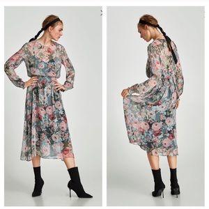 Zara floral printed midi dress